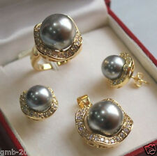 Dark Gray South Sea Shell Pearl Beads/ Earrings Ring / Necklace Pendant Set
