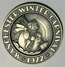 C1227   MANCHESTER, N.H. STERLING # 736  TOWN  MEDAL,  WINTER CARNIVAL  1972