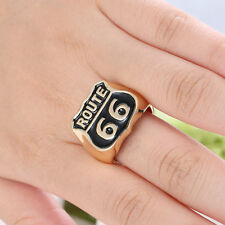 "AAA ""Route 66"" Rock Design Fashion 18K gold plated Size 9 Men's Punk Cool Ring"