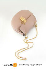 CHLOÉ Cement Pink Chloe Drew Small Saddle Lambskin Leather Crossbody Bag $1900+