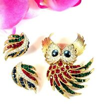 CROWN TRIFARI RUBY EMERALD RHINESTONE FIREBIRD HORNED OWL BROOCH EARRINGS SET
