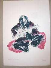 FLAURE Lithographie originale signée EA Guitariste Ecole de Paris Rouen MUSIQUE