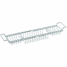 SABICHI MODERN EXTENDABLE CHROME OVER BATH RACK SHELF BATHROOM STORAGE HOLDER