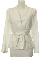 Prada Ivory Tie Waist Long Sleeve Button Up Pleated Blouse W/Pockets Size 38/4