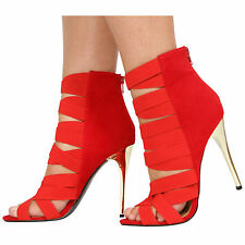 WOMENS HIGH HEEL ELASTIC STRAPPY GLADIATOR CAGED LADIES SHOES SIZE 3-8