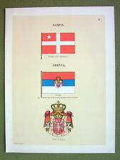 FLAGS Serbia Ensign Coat of Arms & Samoa - 1899 Color Litho Print