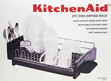 KITCHEN AID 3 PIECE DISH DRYING RACK Large Capacity, Removable Caddy   BLACK