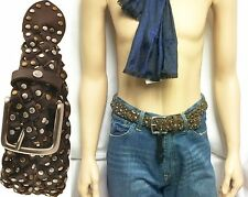$89 William Rast Leather Braid Belt Stud sz 32 Jeans Pants Skirt Men Women Gift