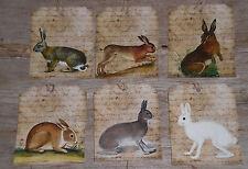 12 Primitive Folk Art Vintage Look Bunny Rabbit  Hang Tags Gift Ties Ornies