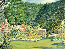 MARY P. HIBBARD Signed Vintage c1930's Original Watercolor Painting GARDENSCAPE