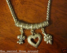 Fleur De Lis Silver Toned Chunky Style Necklace  Pendant With A Heart Pretty