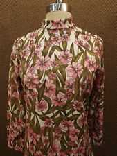 Vtg 60s NEW NOS Spring Season Floral Back Zip Casual Long Sleeve Top Shirt Sz S