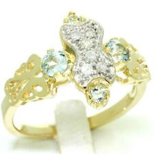 Aquamarine & 6 Diamond 9ct 9K Solid Gold Antique Style Ring - 30 Day Returns