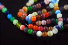 20Pcs Mixed Round Colorful Glass Cat Eye Jewelry Spacer Loose Beads 8mm Charms