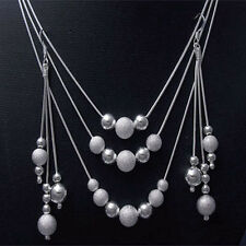 Fashion Accessories 925Sterling Silver Sandy Beads Women's Necklace+Ring Set
