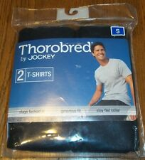Size S Black Jockey Thorobred 2 ct. T-Shirts Generous Fit Stay Flat Collar 34-36