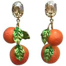 Dolce & Gabbana Orange Drop Clip On Fruit Earrings Crystal Gold Tone Resin