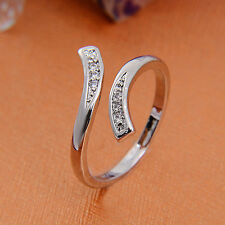 Fashion Elegant 925 Silver Opening Ring Adjustable Unisex Jewelry