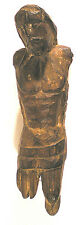 "CHRIST Carved WOOD FIGURE Colonial PERU w/o Arms, Lower Legs 6.5""h PPD-USA"