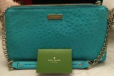 KATE SPADE Robins egg or Turquoise Ostrich East West Shoulder Clutch Small Bag