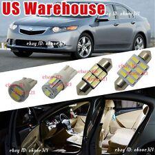 14-pc White Car Led Light Sedan Wagon Interior Package Kit For 09-14 Acura TSX