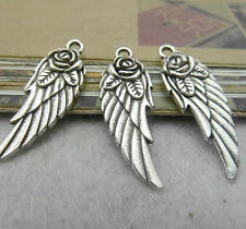 10pc Tibetan Silver 2-Sided Wing Rose flower Pendant Charms Accessories PJ36