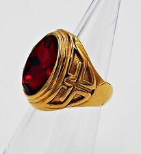 MEN RING SIZE 10 RUBY ESTATE SOLITAIRE KNIGHT TEMPLAR CROSS STAINLESS STEEL GOLD