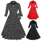 Vintage Rockabilly Polka Dots Swing 50s 60s Pinup Housewife Party Prom Tea Dress