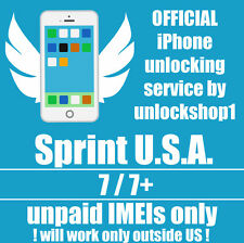 Premium Official unlock service Sprint unpaid bills iPhone 7 7+ use outside USA