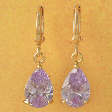 New 9K Yellow Gold Filled Light Purple CZ Pear Shaped Tear Drop Dangle Earrings