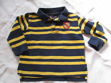 EUC Chaps Baby Toddler Boys Size 2 - 2T  Long Sleeve Navy Yellow Rugby Shirt