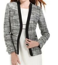 Kasper Blazer Sz 10 Black White Multi Business Cocktail Evening Jacket Blazer
