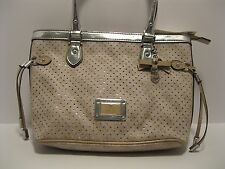 Purse GUESS Tan Dotted Swiss Faux Leather Logo Heart Charm Silver Trim NWT L70