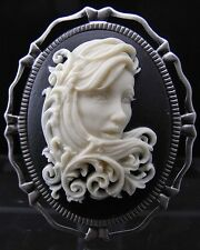 2 IN 1 Long Curly Hair Lady Cameo Brooch Pin / Pendant