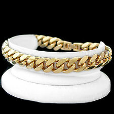 """11mm Thick ROUNDED CURB Link 9"""" 14K GOLD GL Solid Bracelet 