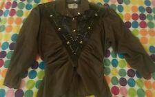80's / 90's Vintage Rina Dynarsky Leather Embellished Blouse and Skirt Set