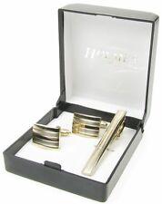 GEMELLI GOLD TIE clip pin camicia da uomo festa matrimonio natale SCATOLA REGALO NUOVO UK cts35.