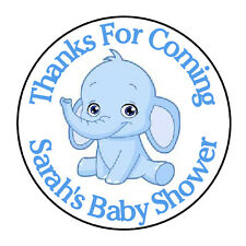 """24 PERSONALIZED BLUE ELEPHANT BABY SHOWER PARTY FAVOR LABELS STICKERS 1.67"""""""
