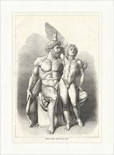 Dädalus und Ikarus Fr. Brugger Statuen griechische Mythologie Holzstich E 8208