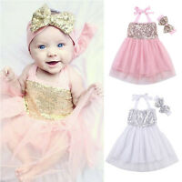 Baby Girls Headband Party Wedding Tulle Formal Tutu Pageant Christening Dress