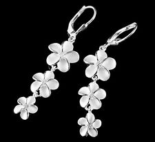 925 STERLING SILVER 3 HAWAIIAN PLUMERIA FLOWER DANGLING LEVERBACK CZ EARRINGS