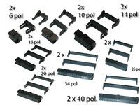2 x Pfostenstecker 6, 10, 14, 16,20, 26, 34, 40pol  Schneidklemme Flachbandkabel
