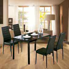 5 Piece Glass Metal Dining Table Set 4 Chairs Kitchen Room Breakfast Furniture