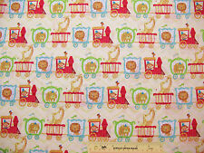 Circus Train Childrens Kids Lions Giraffes Bears Monkeys Cotton Fabric BTY (L) ^