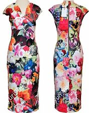 Ted Baker London Fuchsia ODEELA Floral Swirl Print Midi Dress 2 (US 6) $295