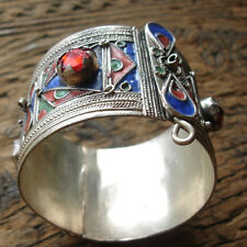 Moroccan red jewel blue enamel coin bracelet cuff
