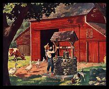 """VINTAGE 1950'S """"THE OLD OAKEN BUCKET"""" FARM BOY WATER WELL RED BARN COW ART PRINT"""