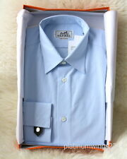 NIB Authentic HERMES Dress Shirt Blue Poplin Mother Pearl Jacquard H 39 15.5