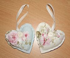 Handmade Fabric Hanging Hearts - Set of 2 French Shabby Floral