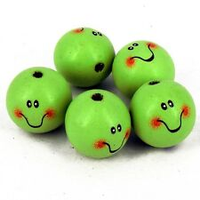 Pack 10  Wooden Alien Doll Head Beads, 30 mm Faces Hole 5 mm W6
